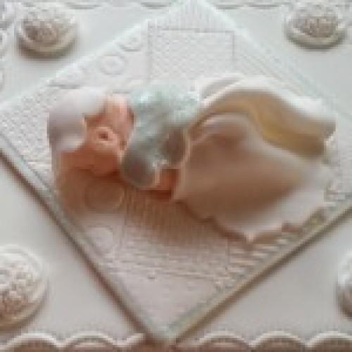 White Christening Cake Topper Christening