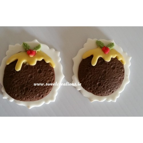 Christmas Pudding Cupcake Topper Christmas