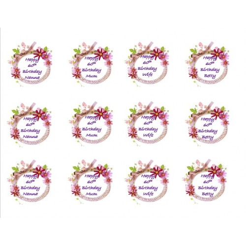 Cupcake Toppers Flower Frame Edible Pictures