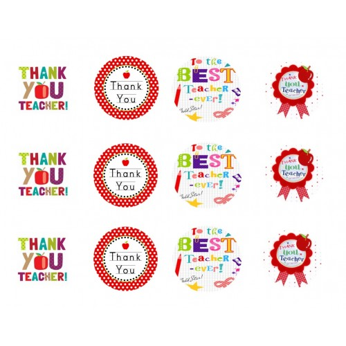 Thankyou Teacher Cupcake Toppers