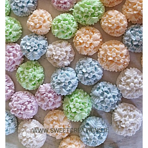 Pastel Moulded Flower Cupcake Topper Christening