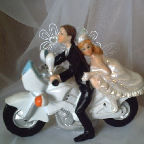 Cake Topper Couple On A Motorbike Weddings