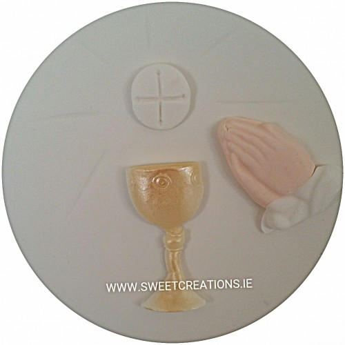 Praying Hands Chalice Cake Plaque Communion & Confirmation