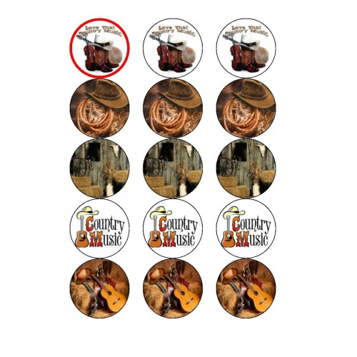 Country and WEstern Cupcake Toppers Birthdays/Anniversary