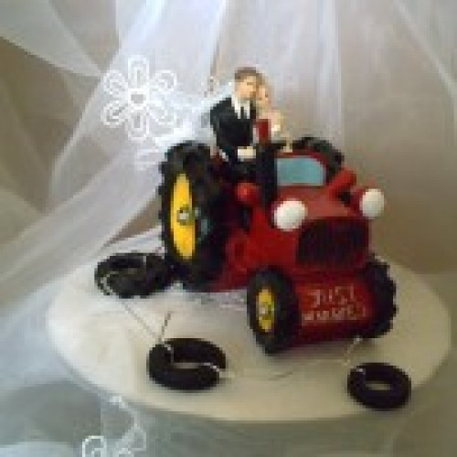 Red Wedding Tractor Cake Topper Weddings