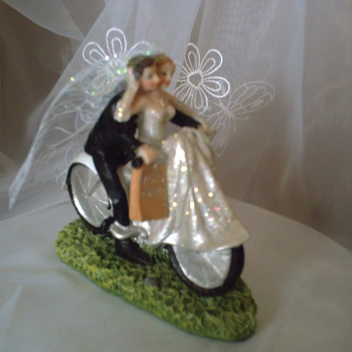 Cake Topper Couple on Bicycle