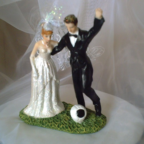Cake Topper Football Couple.  Weddings