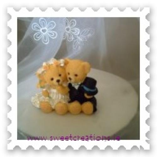 Sitting Bear Bride and Groom Black Suit Weddings